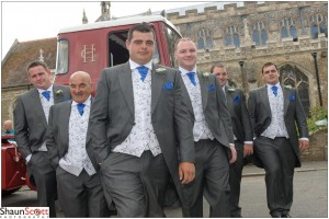 March Wedding Photography, Grooms men with Lorry